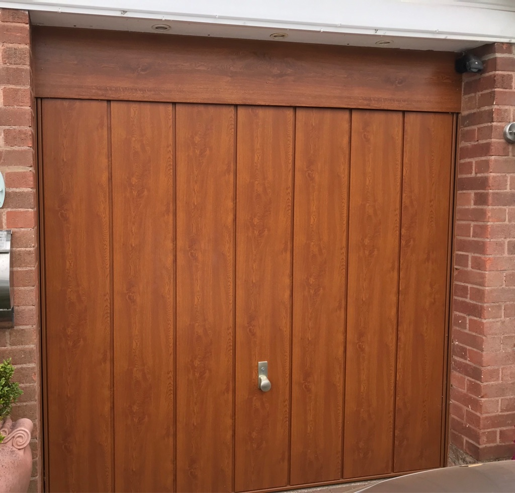 Oak effect garage door