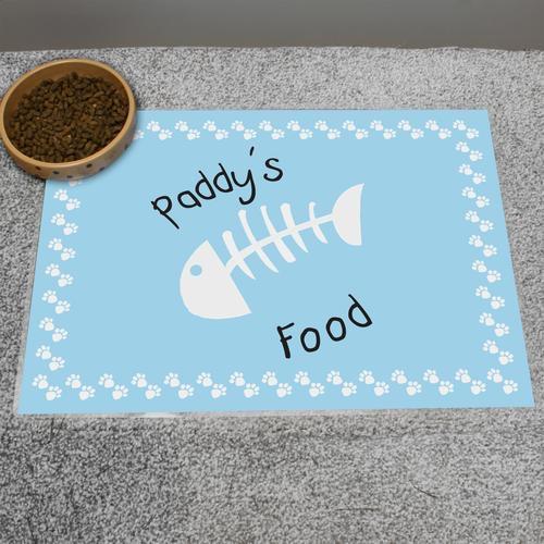 Personalised blue fish bone cat placemat