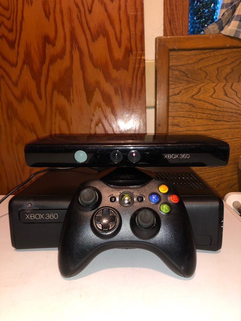 Xbox 360 with Kinect and controller