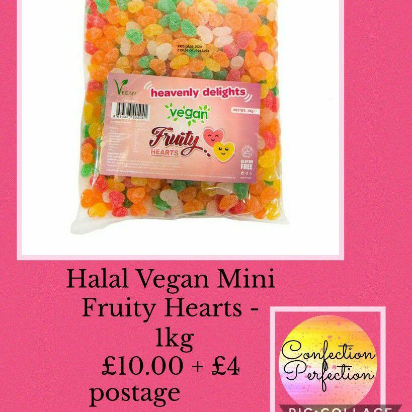 Halal Vegan Mini Fruity Hearts - 1kg