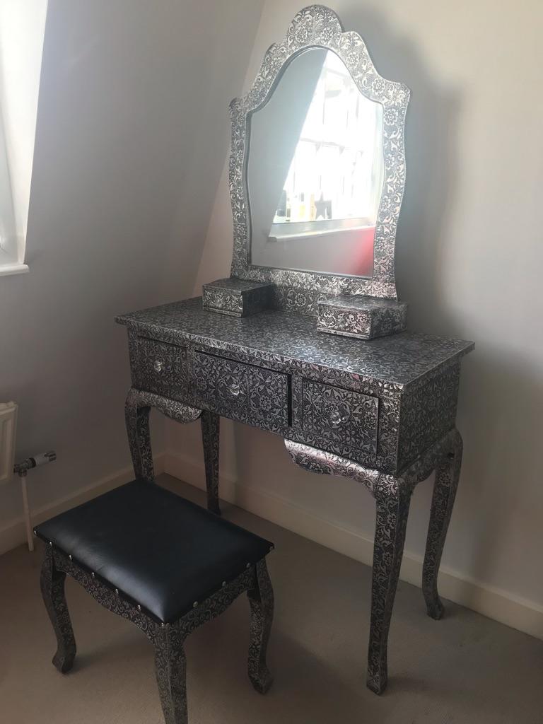 Art Deco Style Dressing Table, Mirror & Stool