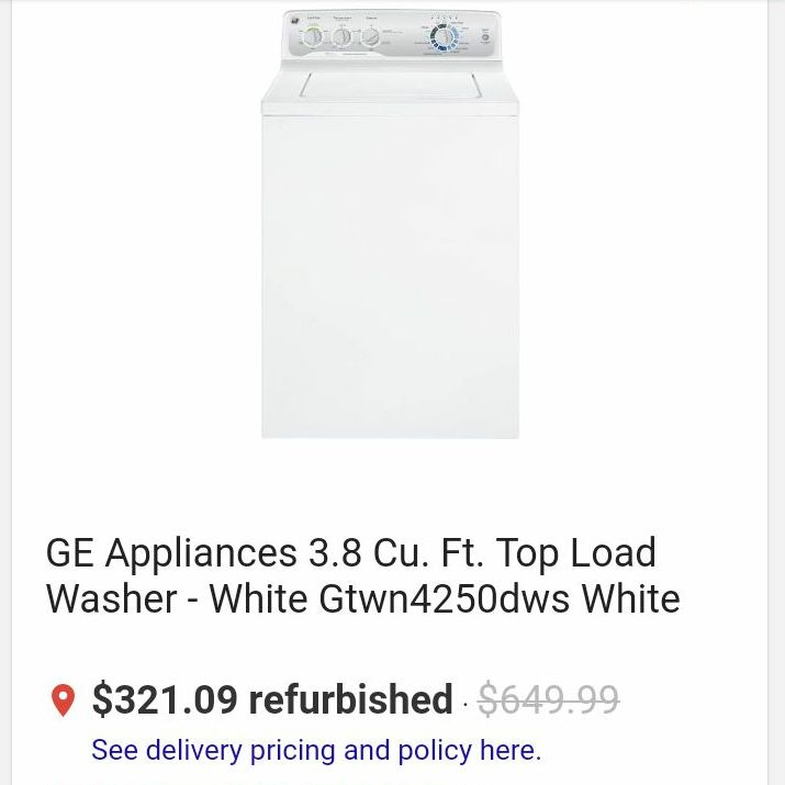 2012 GE Appliances 3.8 Cu. Ft. Top Load Washer - White Gtwn4250dws White