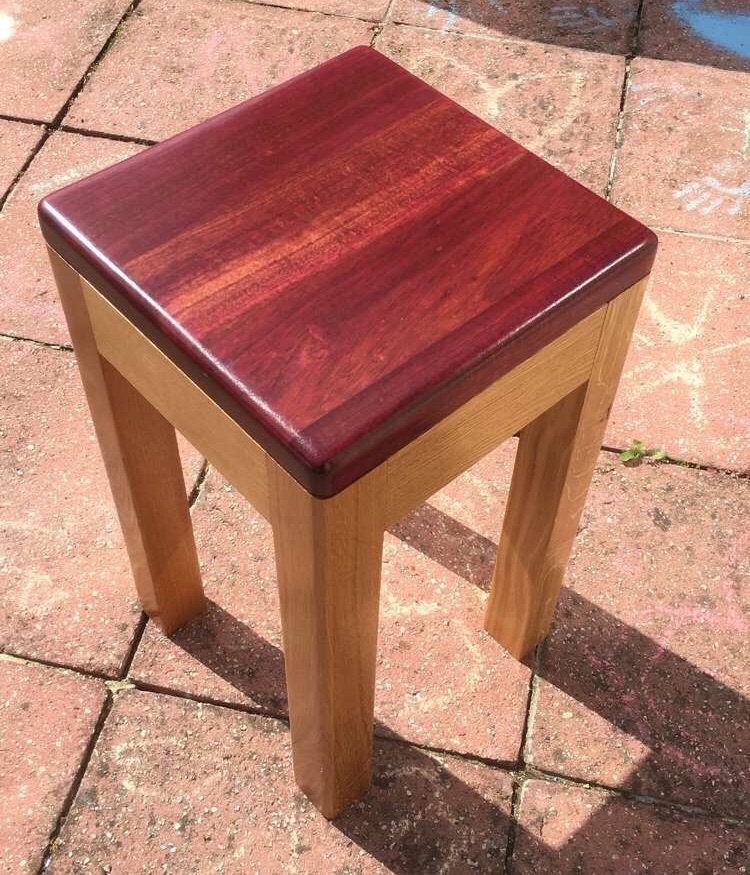 Solid so and Purple Heart wood table.