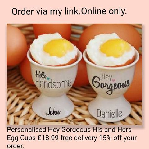 🥚Personalised Hey Gorgeous His and Hers Egg Cups🥚☕ 💥£18.99 🚚free delivery