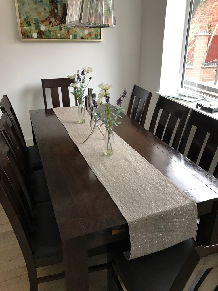 Dining table, 8 chairs, tv cabinet, nest of tables, two draws table. Set...