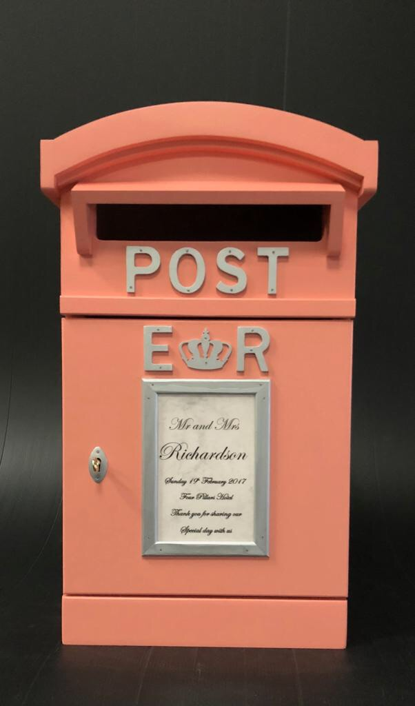 Coral and silver Post Box for hire