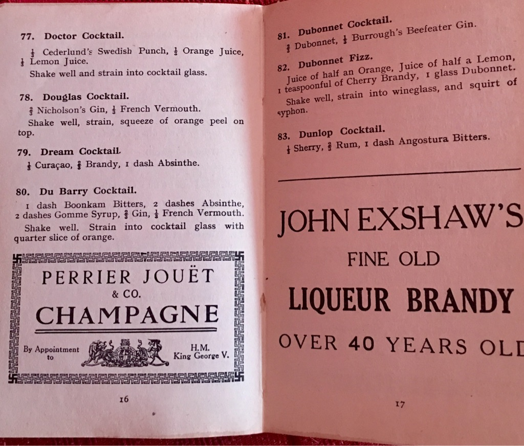 Pre ww2 bartender handbook of A B C of mixing cocktails