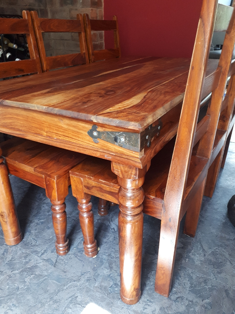 Indian mango dining table and 6 chairs