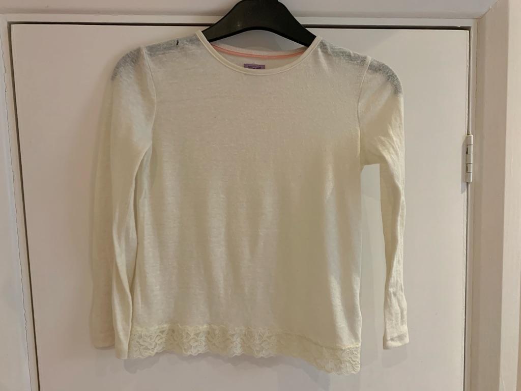 Girls cream long sleeve T-shirt 8-9 years