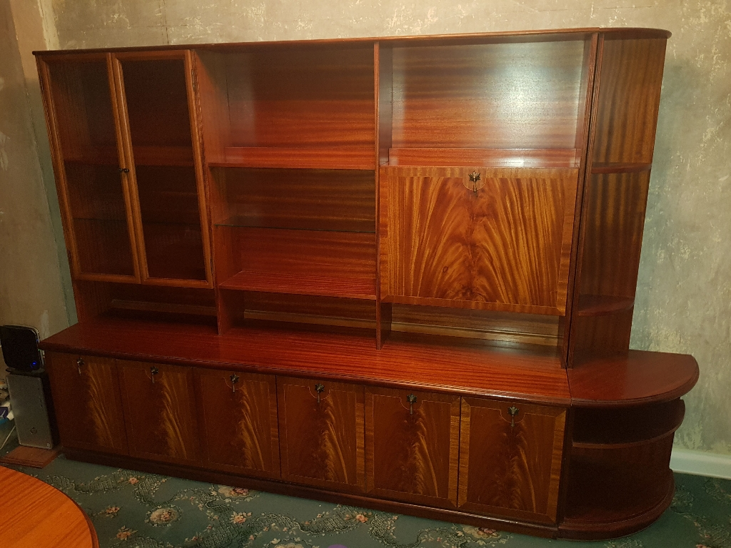 Vintage light mahogany side board. Top unit. Corner/end unit.