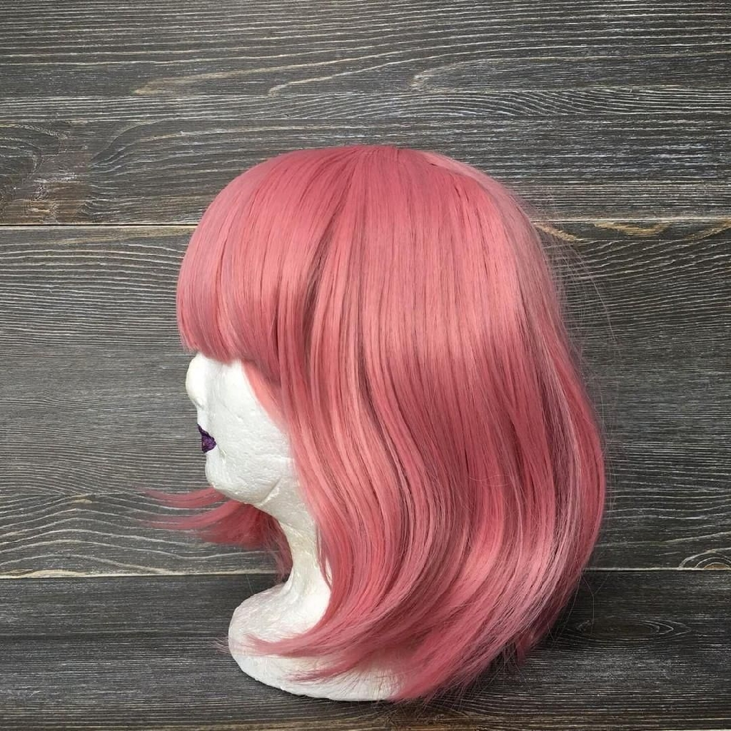 Synthetic hair pink wig