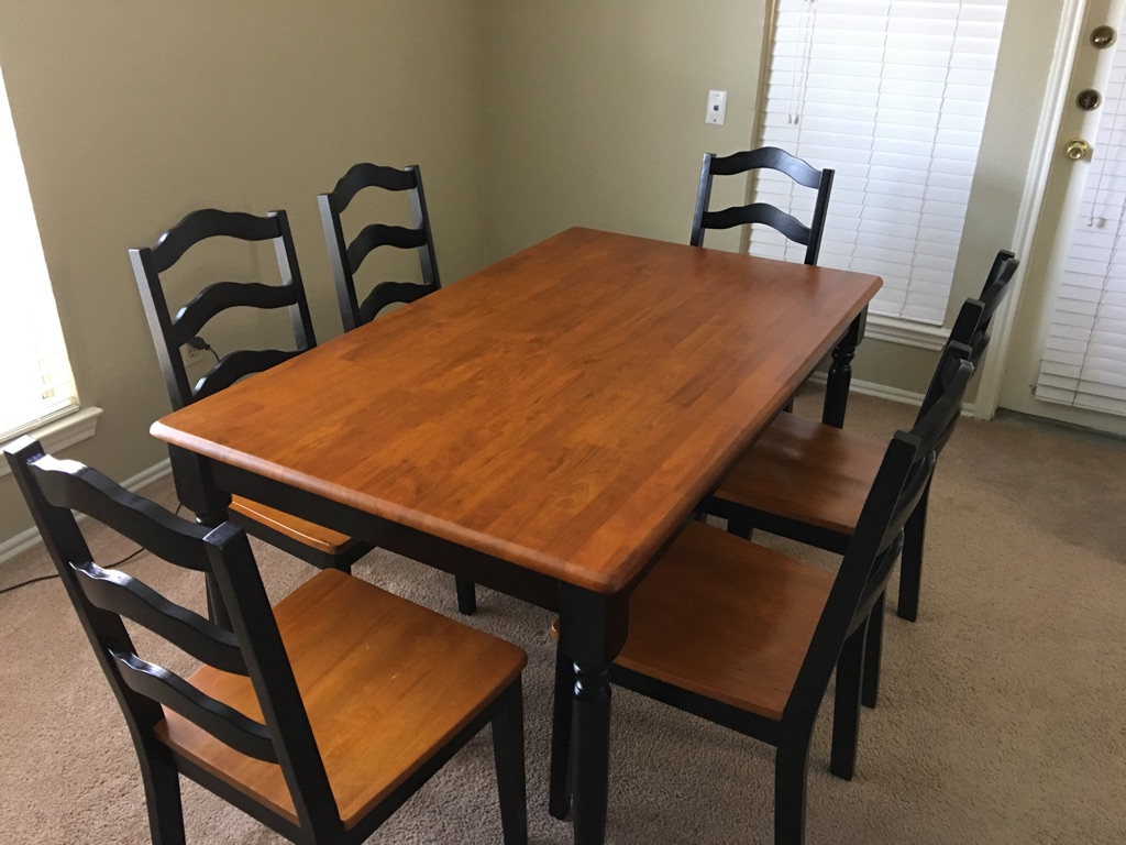 Rectangular brown wooden table with 6 chairs dining set