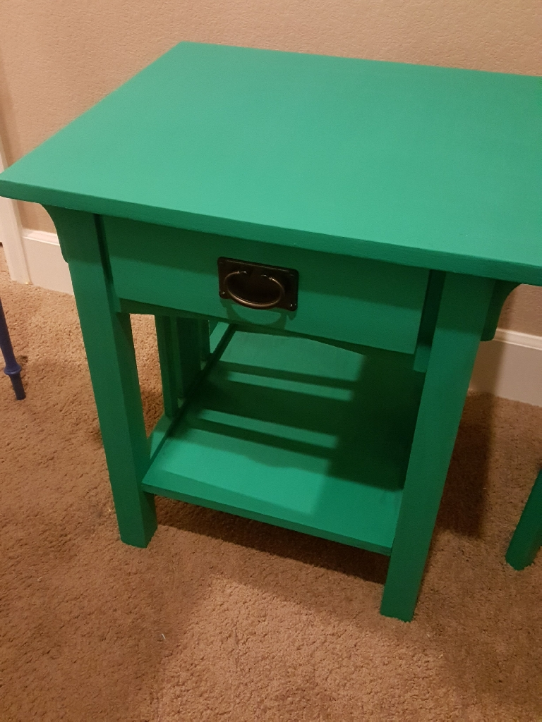 Seafoam Green Loche Side Table and Sitttiing Chair
