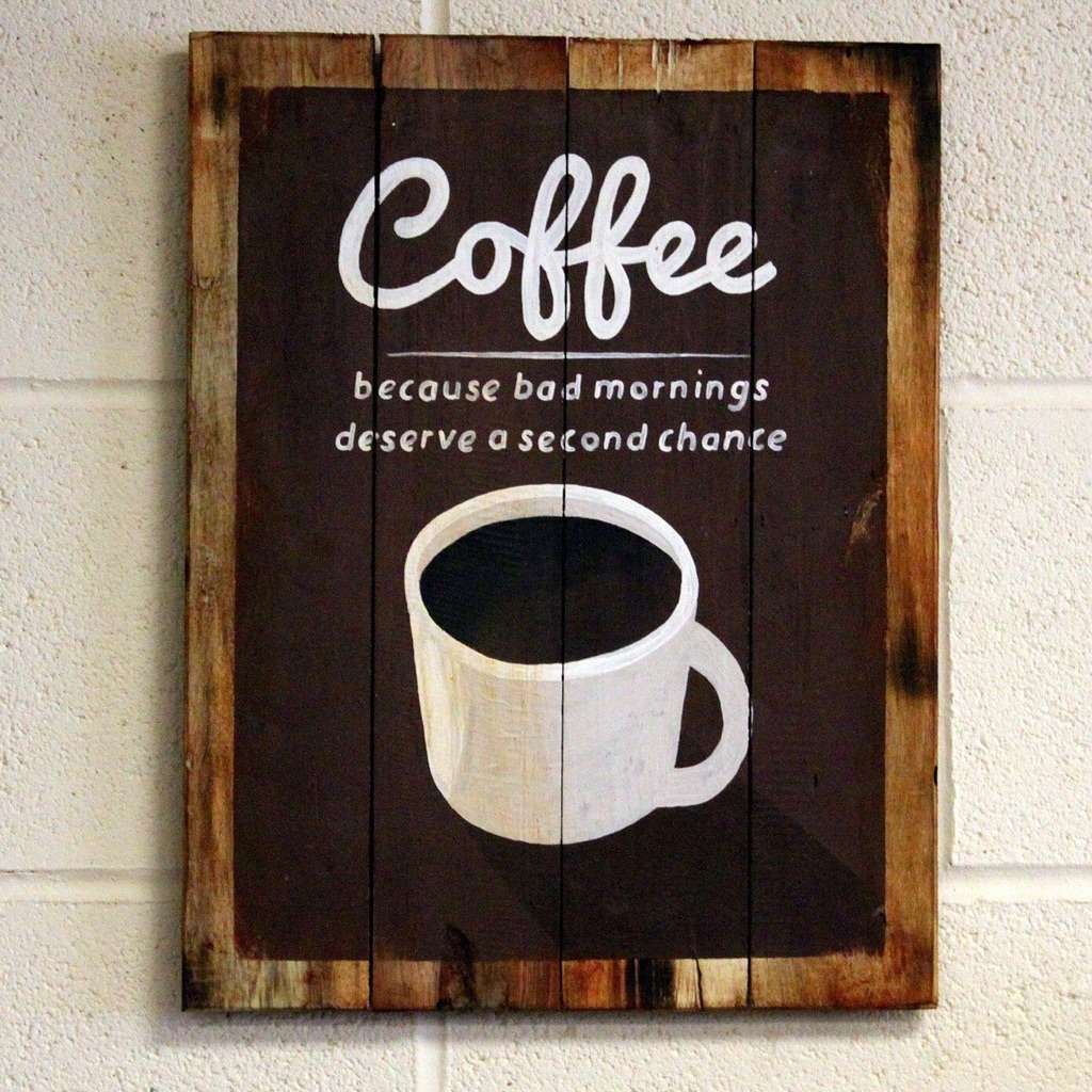 Wooden Coffee Sign 'Bad Mornings'