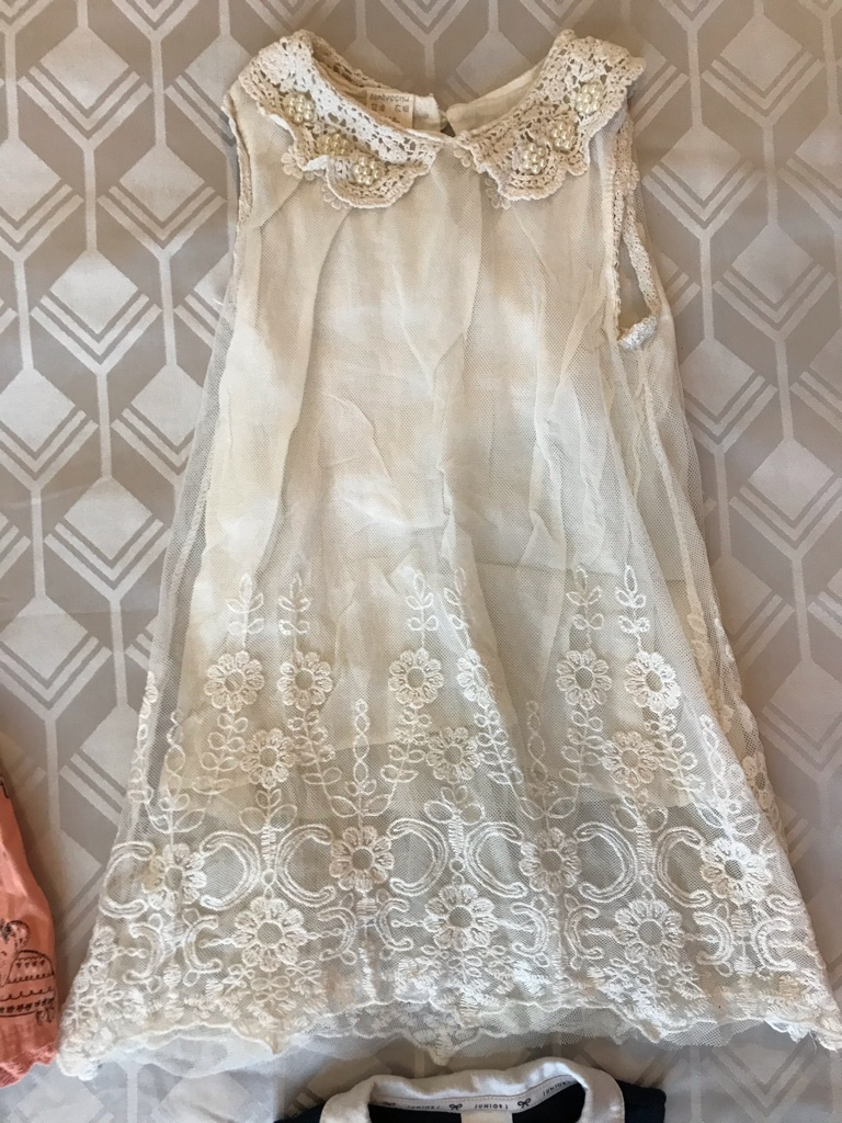Lace Ivory Dress with Crocheted Collar & Gorgeous Pearl Detail 12-18m 110