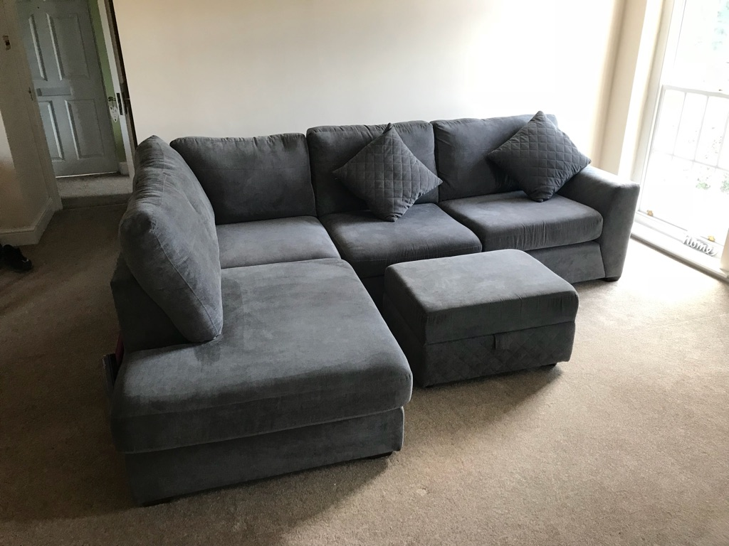 Right Hand Facing Corner Sofa & Large Footstool