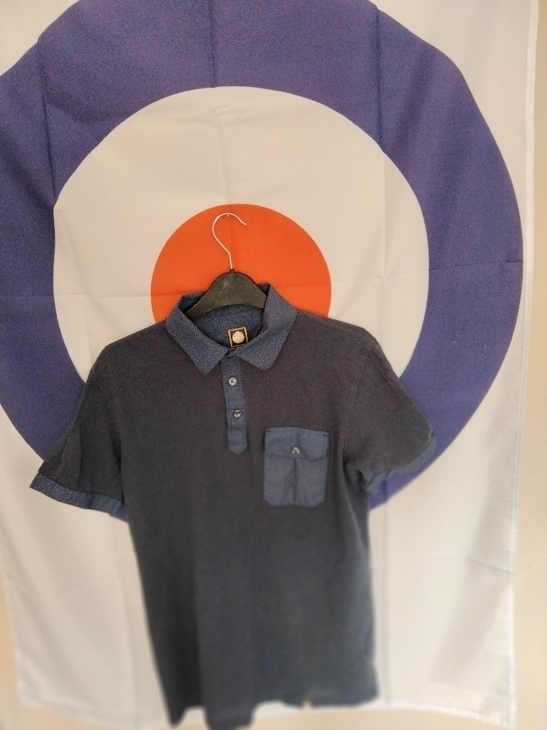 Pretty Green Navy Blue Polo Shirt UK Size Small