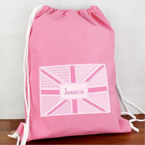 Personalised pink patchwork Union Jack swim & kit bag
