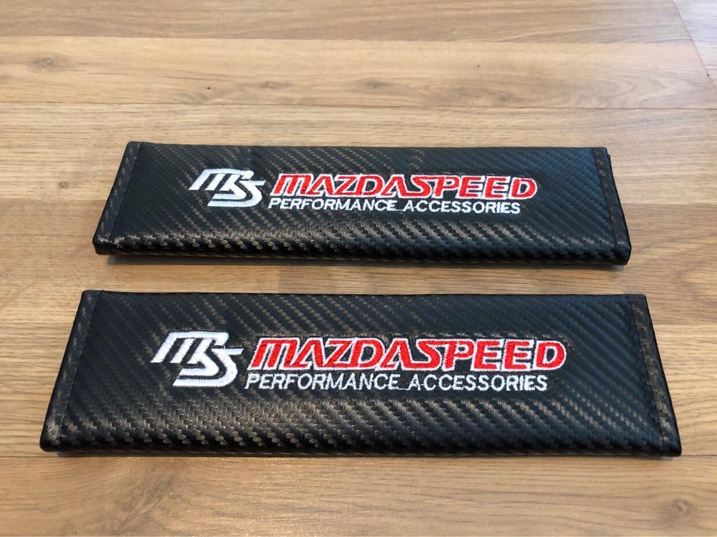 2X Seat Belt Pads Carbon Gift Mazda2 Speed Mazda3 Mazda6 MX5 CX5 RX8 Mazda Speed Performance Accessories