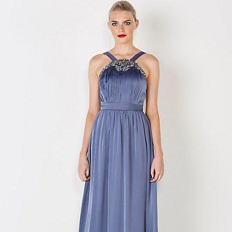Embellished satin maxi dress