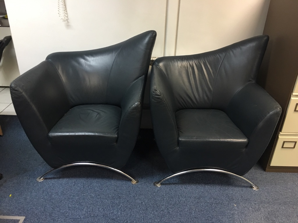 Comfy leather chairs with chrome legs x 2