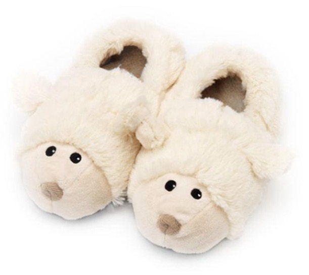 Children's microwaveable 'sheep' slippers