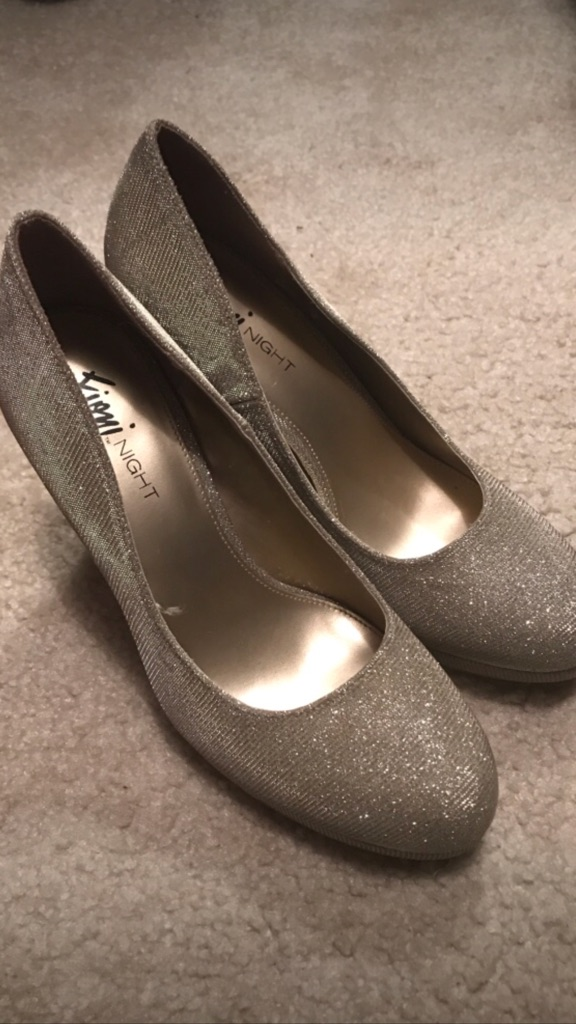 Gold glittered homecoming/prom shoes