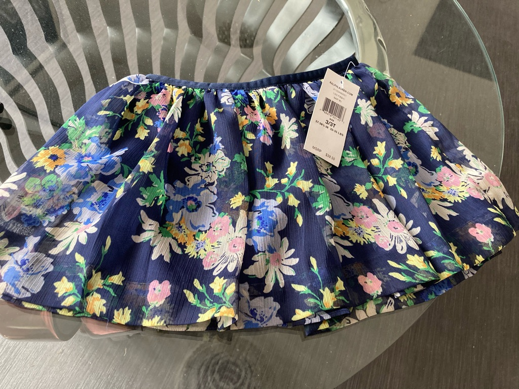 RALPH LAUREN Navy Mix Chiffon Voile Lined Skirt Age 3/3T NWT $39.50