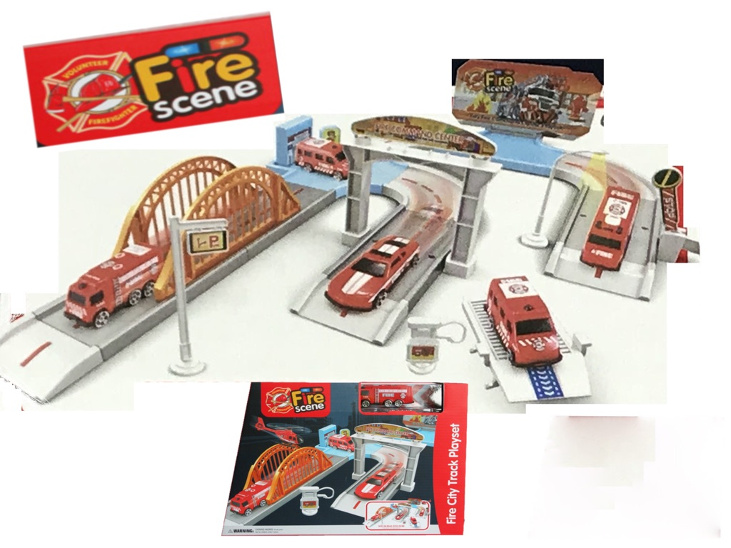 Kids Fire City Play Set With 2x Cars