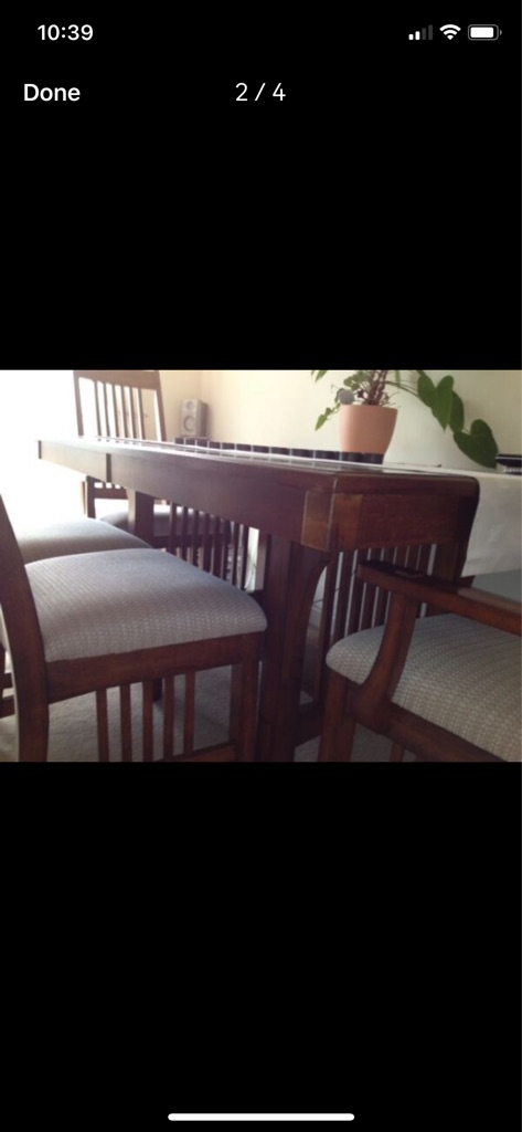 Solid wood extendable dining table & 6 chairs