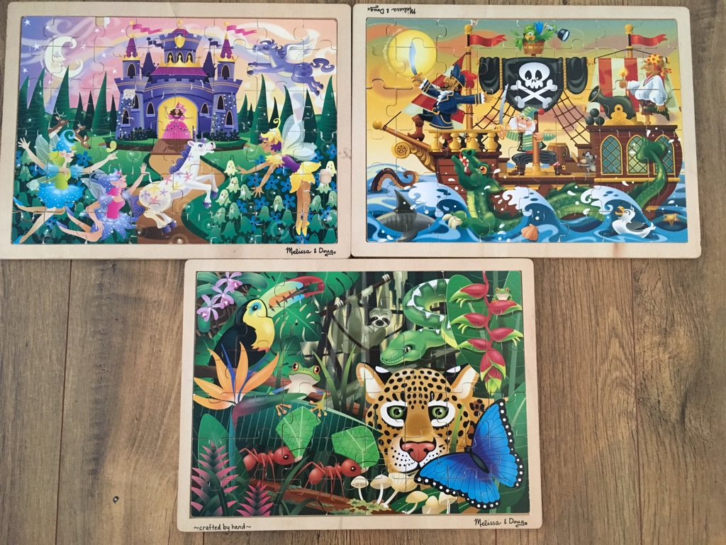 Set of 3 Melissa&Doug wooden puzzles (48 pieces each)