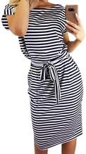 Women's striped elegant short sleeve midi dresses pockets casual pencil dress with belt