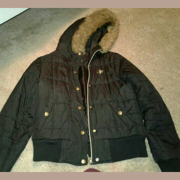 Black, brown south pole jacket
