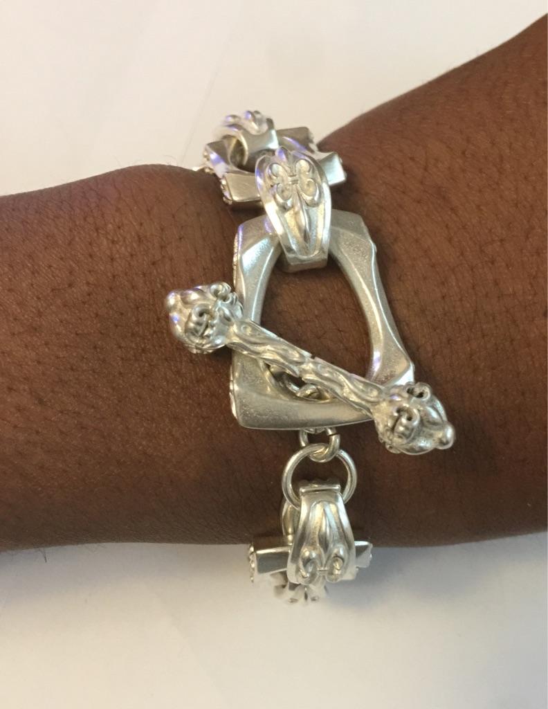 Large silver ladies handmade bracelet