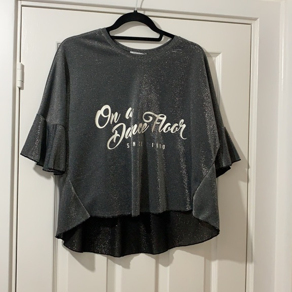 Grey glitter top