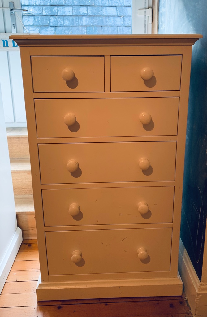 White tall boy chest of drawers from white company