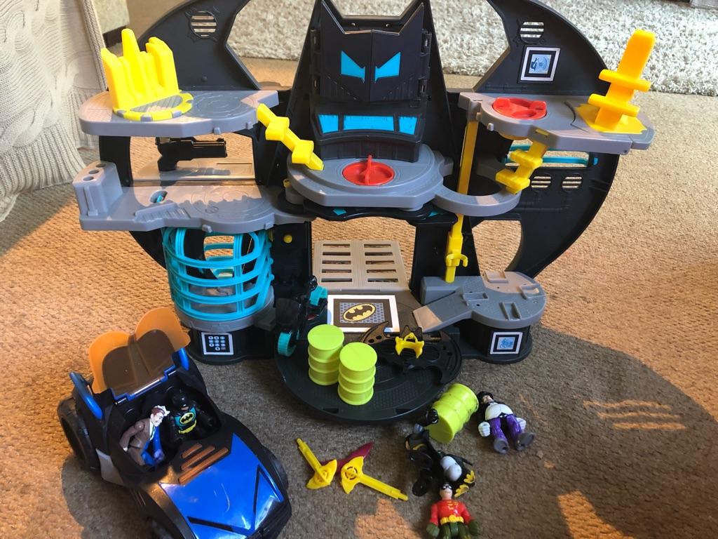 Imaginex Batman Bat Cave, Car & figures.  All in good condition