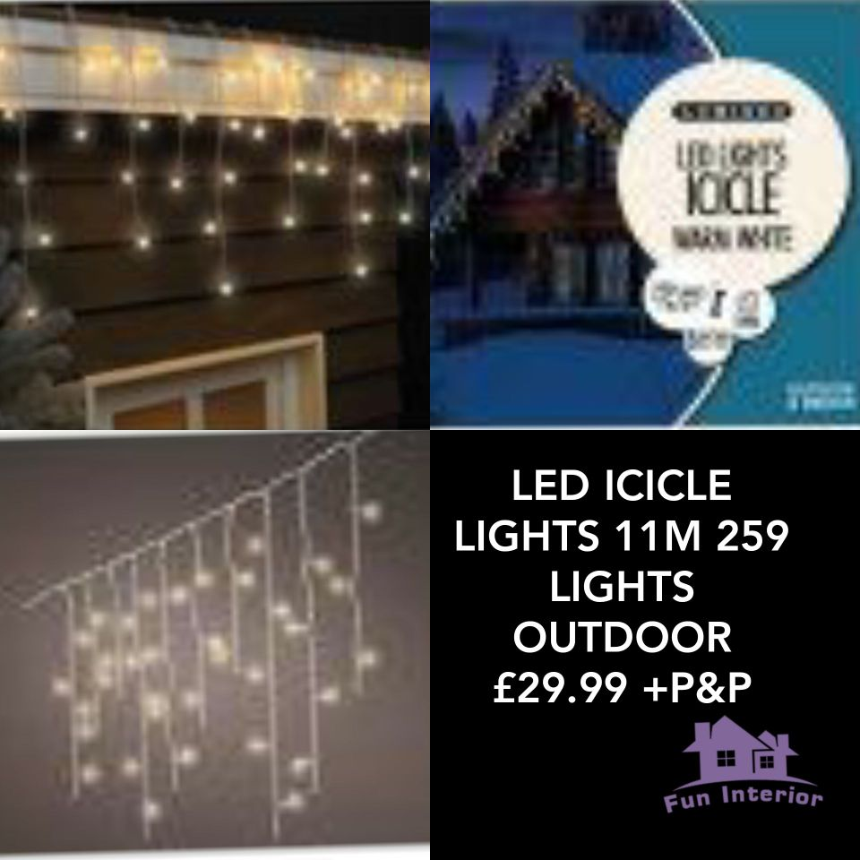 LED ICICLE LIGHTS 11M 259 LIGHTS OUTDOOR