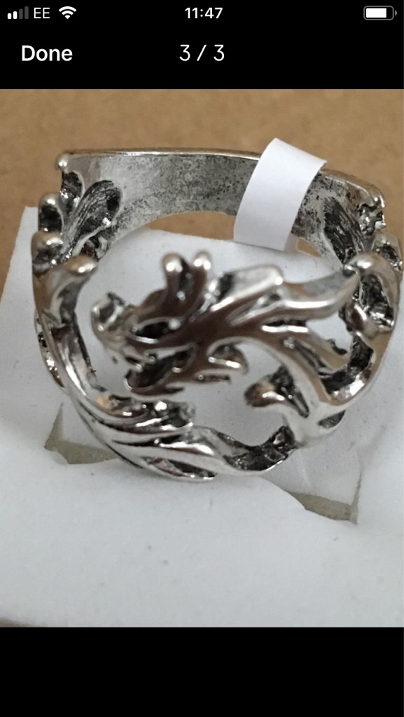 Silver plated dragon ring