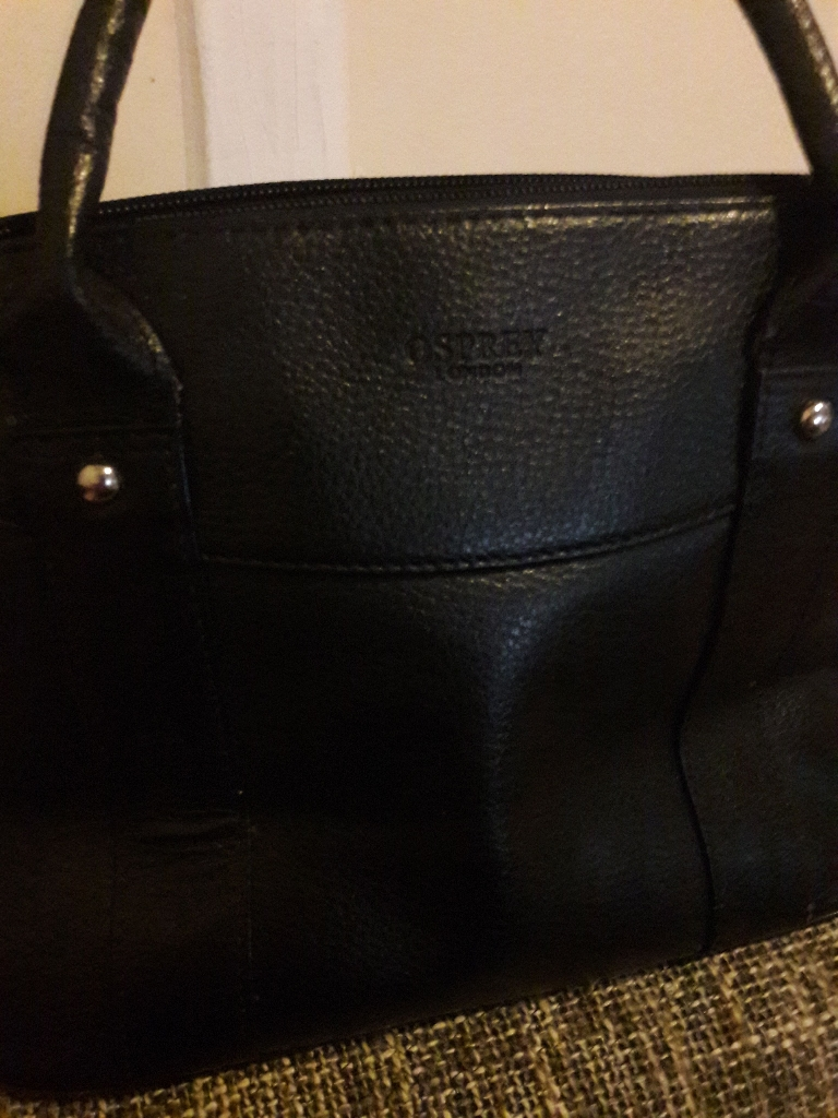 popular brand attractive colour details for Osprey london black leather bag