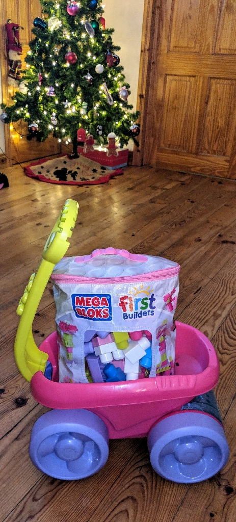 Mega Bloks First Builders Pink Scooping Wagon & 100 + First Builders Bloks In A Bag With Characters