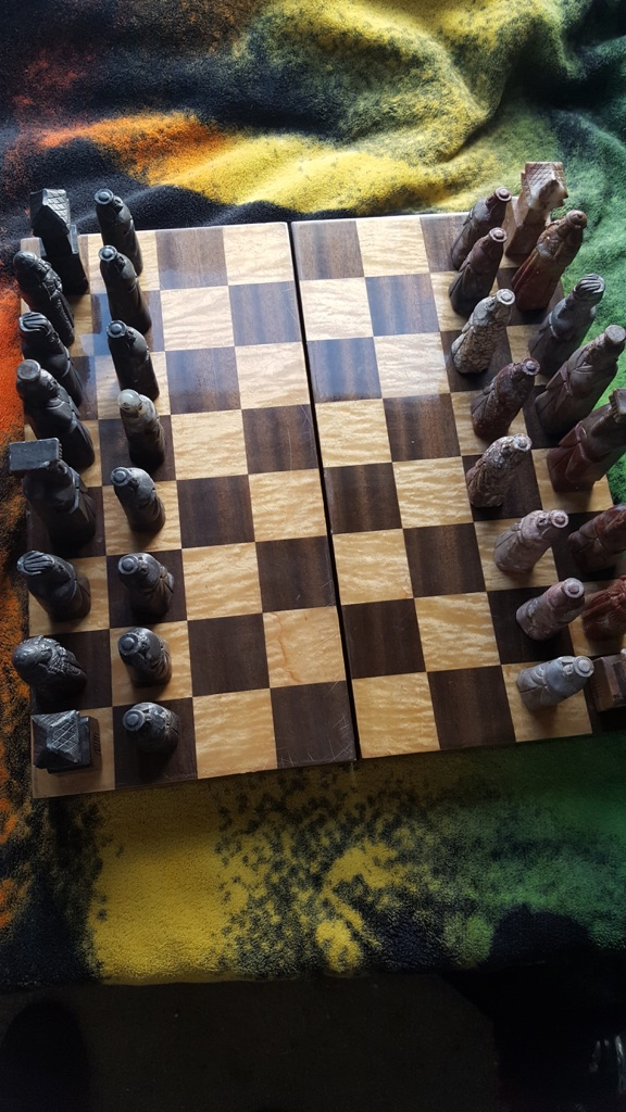 Antique Hand Carved Japanese Chess Set