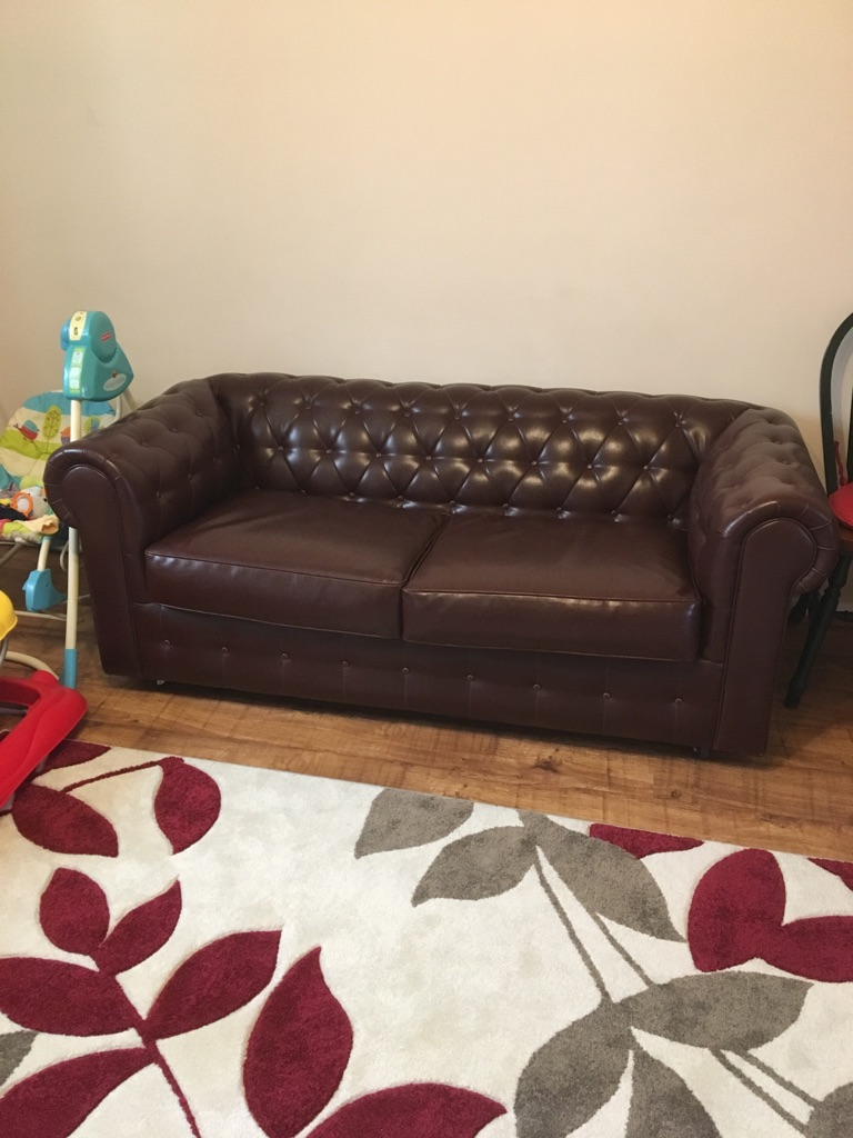 Lather two sets chesterfield sofa bed