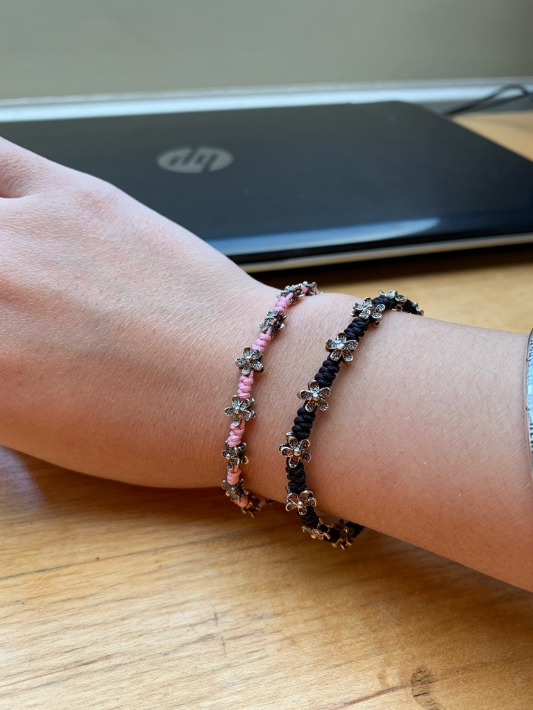 Bracelets with silver flowers