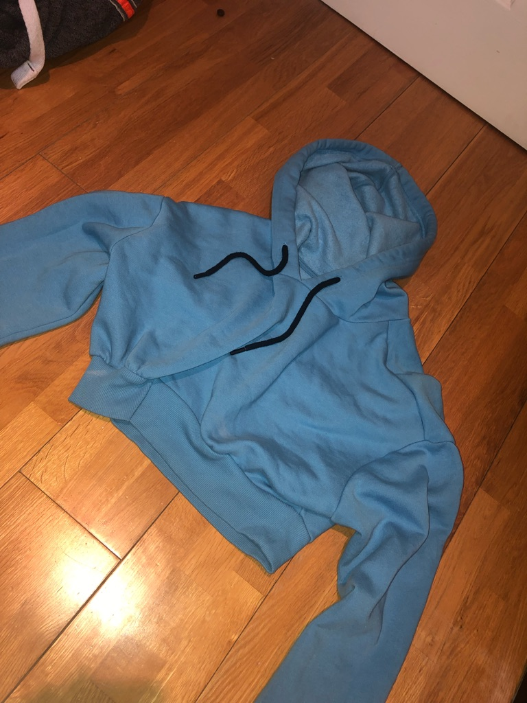 Miss Selfridge blue cropped hoodie