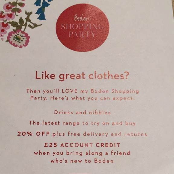 Boden shopping party