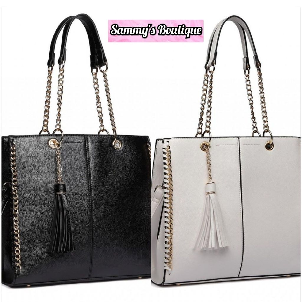 Faux Leather Chain Tote Bag With Tassel