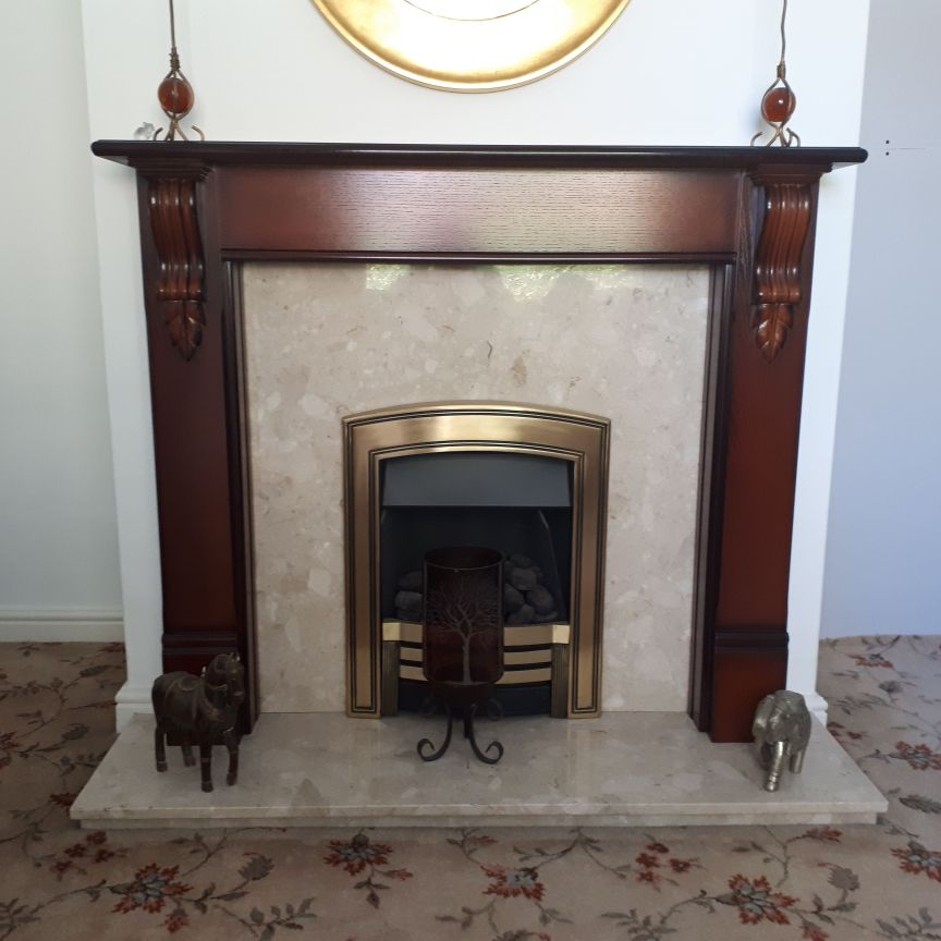 Wood fireplace with marble insert and hearth incldes gas real flame fire