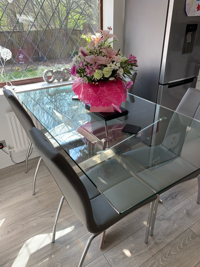 Glass Dining Table and 4 Grey Chairs