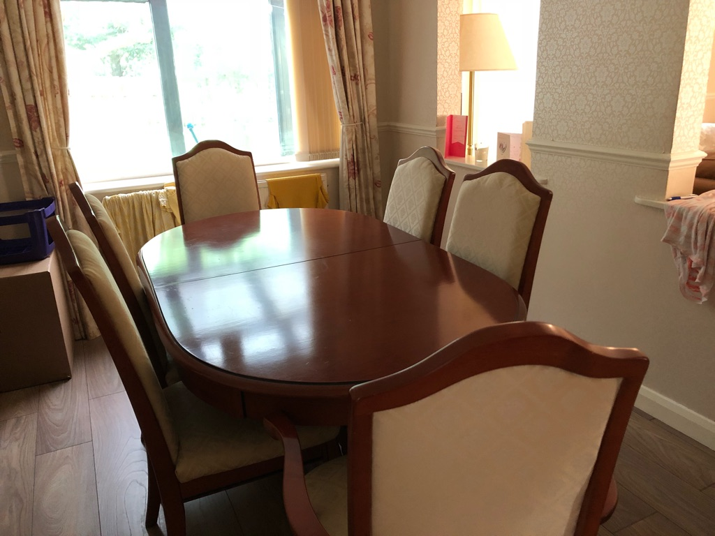 Dining table and chairs solid cherry wood